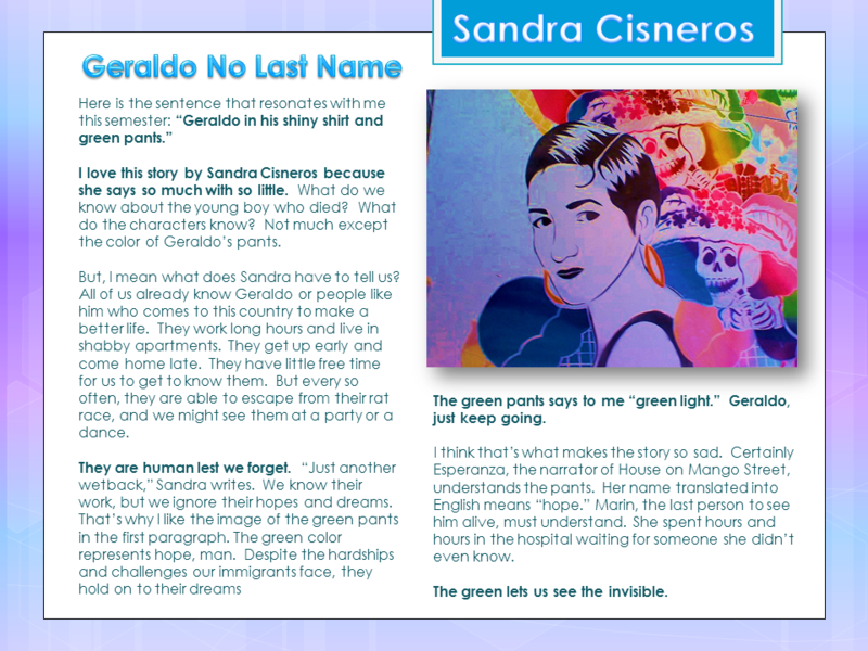 my name by sandra cisneros Sandra cisneros (born december 20  cisneros's biographer robin ganz writes that she acknowledges her mother's family name came from a very humble background.