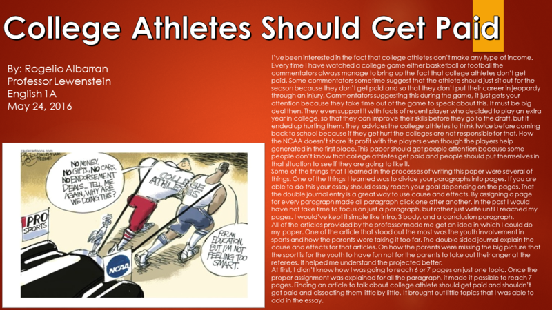 should college athletes get paid for playing essay Free essay: why college athletes should be paid due to national collegiate athletic association (ncaa) rules and regulations no college athlete is able to.