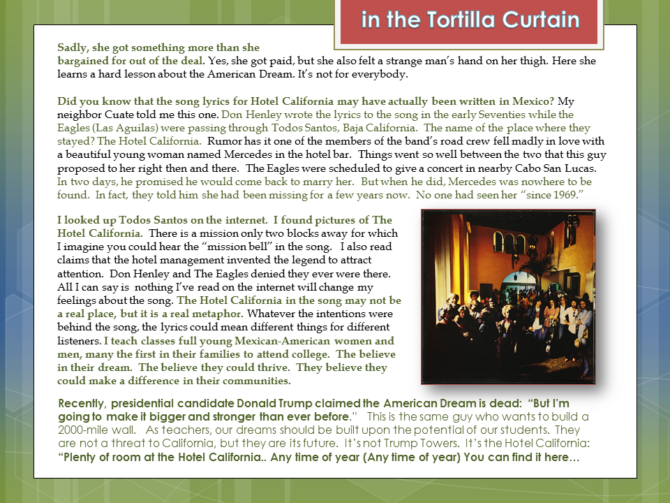 themes in the novel the tortilla curtain english literature essay In which way do the symbolic chosen names have a meaning and a function in reference to the novel tortilla-curtain/study-guide/major-themes/ http english.