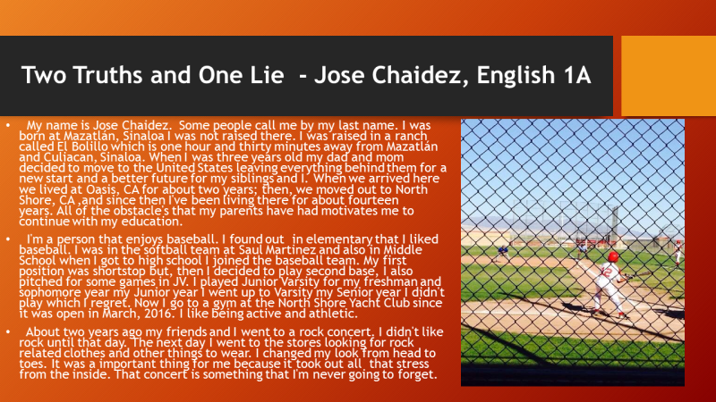 Jose Chaidez -  two truths